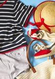Ropa y accesorios del verano de la mujer de moda Imagenes de archivo