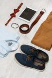 Ropa y accesorios masculinos Fotos de archivo libres de regalías