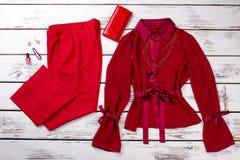 Ropa y accesorios modernos rojos de la moda de las mujeres Imagen de archivo libre de regalías