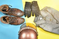 Ropa y accesorios para el jinete de la motocicleta Fotos de archivo libres de regalías