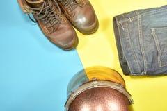 Ropa y accesorios para el jinete de la motocicleta Imagen de archivo libre de regalías