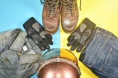 Ropa y accesorios para el jinete de la motocicleta Fotografía de archivo libre de regalías