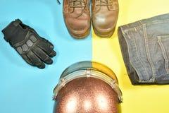 Ropa y accesorios para el jinete de la motocicleta Foto de archivo