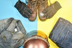 Ropa y accesorios para el jinete de la motocicleta Foto de archivo libre de regalías