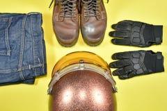 Ropa y accesorios para el jinete de la motocicleta Fotos de archivo