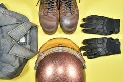 Ropa y accesorios para el jinete de la motocicleta Imagen de archivo