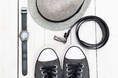 Ropa y accesorios para hombre Endecha plana Fotos de archivo libres de regalías