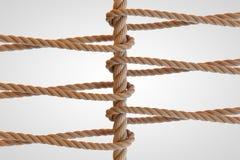 Rope сеть, сеть, соединитесь, совместно закрепите петлей перевод 3d Стоковая Фотография