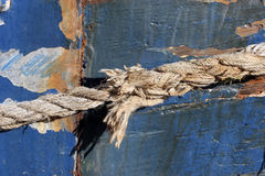 Rope. Close-up of line holding boat to shore Stock Images