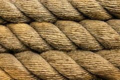Rope. Close up Coils of rope around a pole stock photo