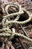 Rope. Detail of coiled rope and fishing net Stock Photography