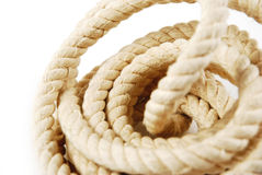 Rope. Close up of skein of rope on the white background Royalty Free Stock Photography