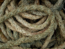 Rope. Coil of rope in the boat Stock Image
