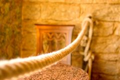 Rope. Used as a design element in a cafe interior. Shallow DOF, focused somewhere in the middle of the Stock Photography