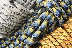 Rope. Rolls of different color climbing ropes Stock Image