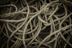 Rope. Tangled and twisted fishing rope Royalty Free Stock Photo