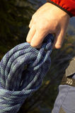 Rope. Climbers hand Stock Photography