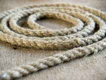 Rope. The rope laying at jute royalty free stock photo