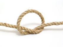 Rope. Knot with isolated white background Stock Photos