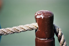 Rope. With stake on ship Stock Photos