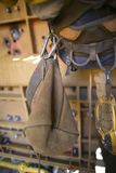 Rope access equipment accessories brawn tool bag hanging on the side of inspector abseiler safety harness loop royalty free stock photos