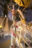 Rope access equipment descender leg loop hanging on the side of inspector abseiler safety harness loop royalty free stock photos