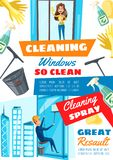 Rope access window cleaning service stock illustration