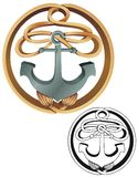 Rope and anchor emblem Stock Photo