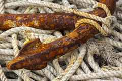 Rope and anchor fluke at Mudeford Quay Royalty Free Stock Images