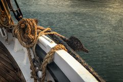 Rope and Anchor on 101 Year Old Sailboat Stock Photos