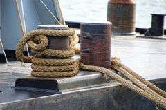 Rope attached to cleat stock images
