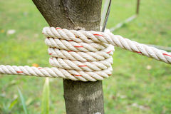 Rope attached to pole. A bundle of hemp attached to the pole royalty free stock images