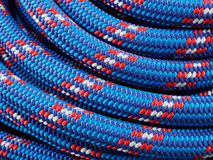 Rope backgrounds and textures. Close-up twisted texture of red-blue nylon rope Royalty Free Stock Photography
