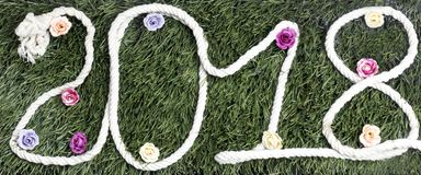 Rope bajo la forma de año 2018 con las flores en hierba Foto de archivo libre de regalías