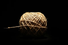 Rope ball on black Stock Image