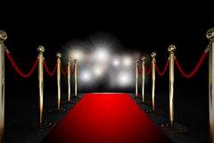 Free Rope Barrier With Red Carpet And Flash Light Stock Image - 32037531