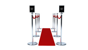 Rope barriers with red carpet and communication area Royalty Free Stock Photography