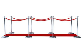 Rope barriers with red carpet Stock Photo