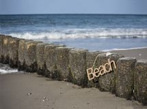 Rope Beach Sign Hanging stock image