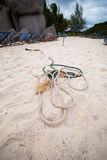 Rope on beach Royalty Free Stock Photos