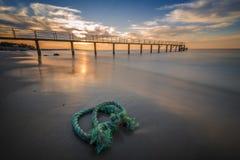 Rope at beach Stock Photo