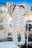 The rope bight, mooring line. The rope bight - knot on mooring line Royalty Free Stock Images
