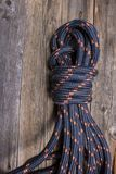 Rope. A bight ofg rope on wooden background Stock Images