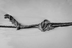 Rope in black and white. Rope on the beach in black and white style stock photos