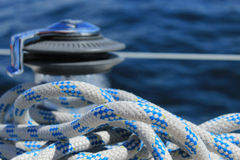 Rope with blurred winch Royalty Free Stock Image