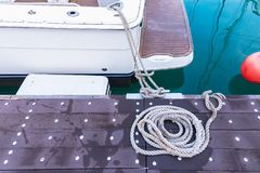 Rope on board ship deck.Phuket.Thailand. Detail tool machine closeup anchor ancient background beach blank boat cruise diving equipment harbor hook leisure stock photography