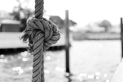 Rope on the boat in back and white Watarun Royalty Free Stock Photo