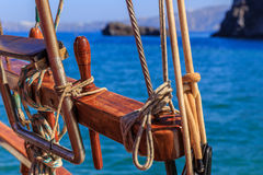Rope at the boat. Detail of boat at santorini stock photo