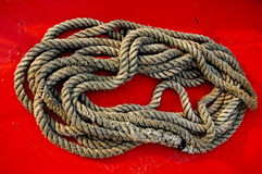 Rope for the boat. Rope to moor the boat Royalty Free Stock Photography
