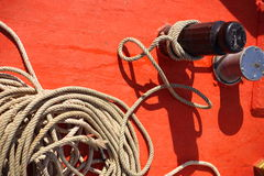 Rope on boat Stock Photography